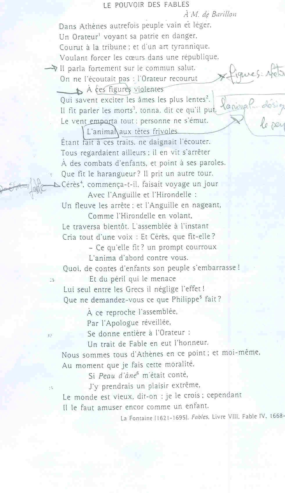 """Commentaire Composé """"le Pouvoir Des Fables"""" - Français - E ..."""